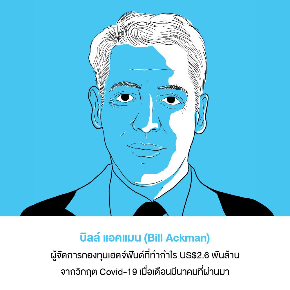 บิลล์ แอคแมน (Bill Ackman) ผู้จัดการกองทุนเฮดจ์ฟันด์ที่ทำกำไร US$2.6 พันล้านจากวิกฤต Covid-19 เมื่อเดือนมีนาคมที่ผ่านมา